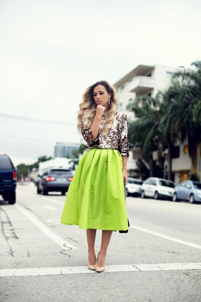 silver glitter top with yellow midi blown skirt