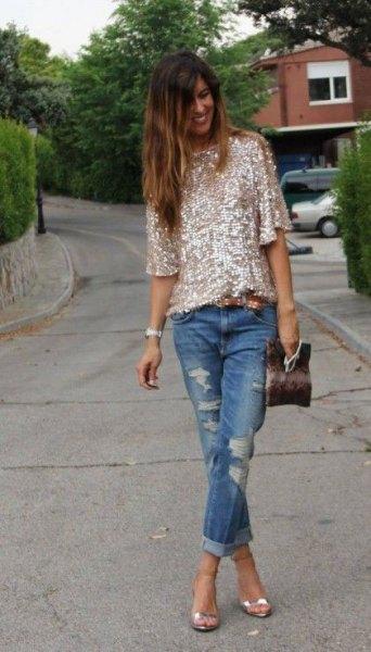 glitter top with boyfriend jeans silver heels