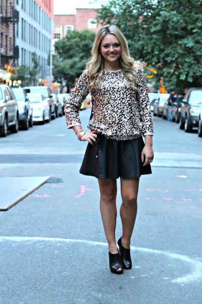 black leather mini skater skirt short boots