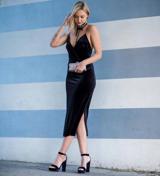 black deep v-neck bodycon midi dress with silver choker