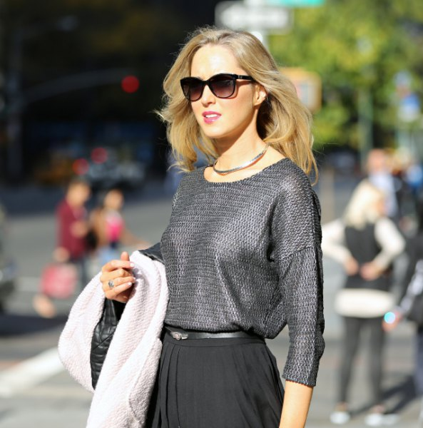 gray crew neck sweater with pleated midi skirt silver choker