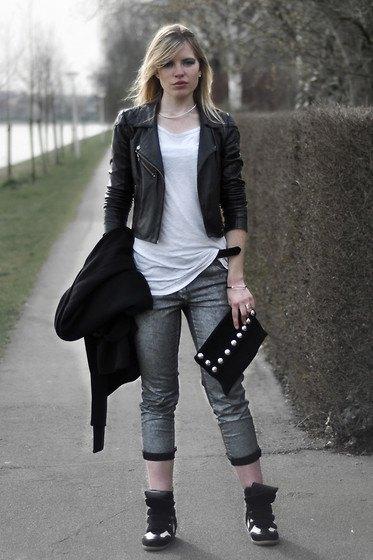 white long tee black leather jacket