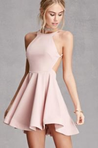 pink halter neck backless skater cocktail dress with silver choker