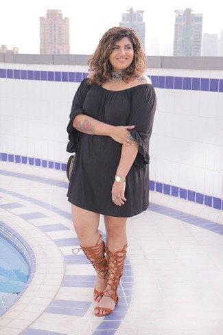 black off shoulder mini shift dress brown gladiator sandals
