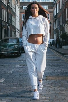 white cropped hoodie with joggers