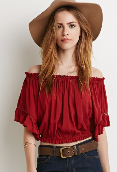 red cropped pawn floppy hat hat