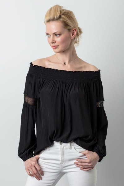 black from the shoulder farmer top white skinny jeans