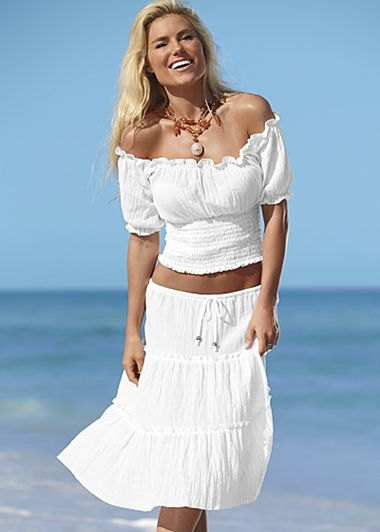 white two-piece off shoulder top farmer midi skirt