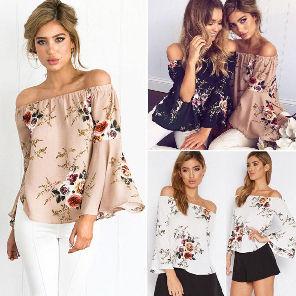 white flowers printed by shoulder top black flowing shorts
