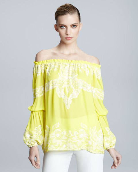 yellow printed from the shoulder peasant with white jeans