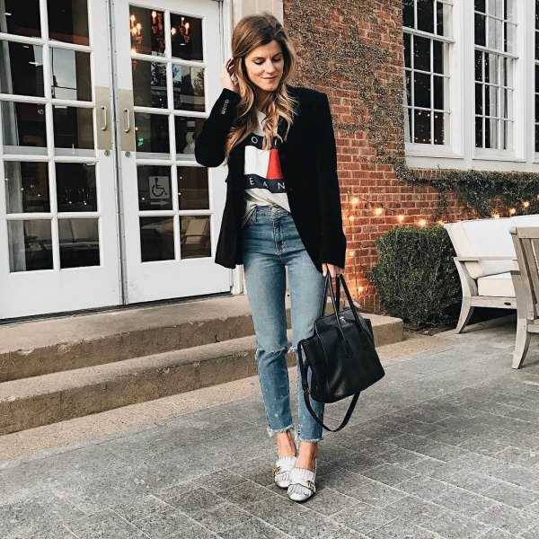 white heeled loafers black blazer crop boyfriends jeans