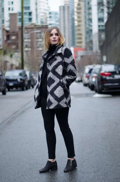 gray and black patterned wool coat black high heeled loafers