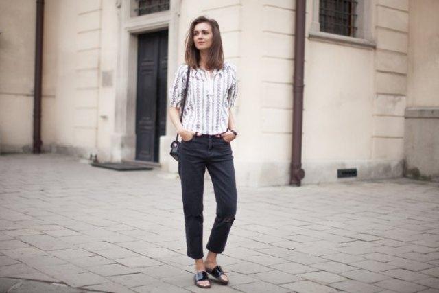 black cropped razor jeans slip sandals