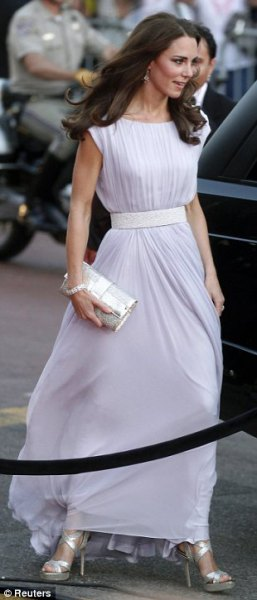 sky blue belt floor length chiffon dress with silver clutch bag