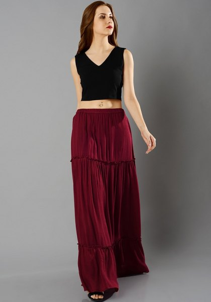 black v-neck sleeveless crop top brown peasant skirt