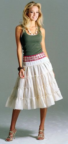 gray vest top white midi farmer skirt