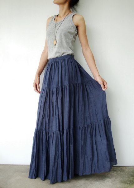 gray vest top navy floor length bond skirt