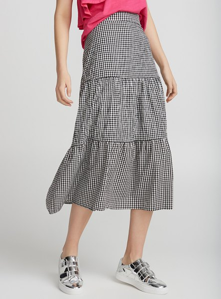 neon pink blouse checkered midi peasant skirt