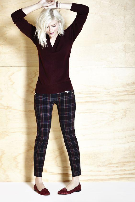 checkered leggings burgundy
