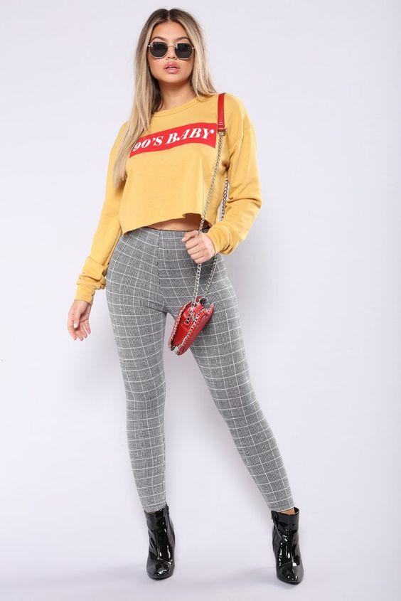 checkered leggings retro