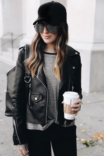 black leather baseball cap moto jacket skinny jeans