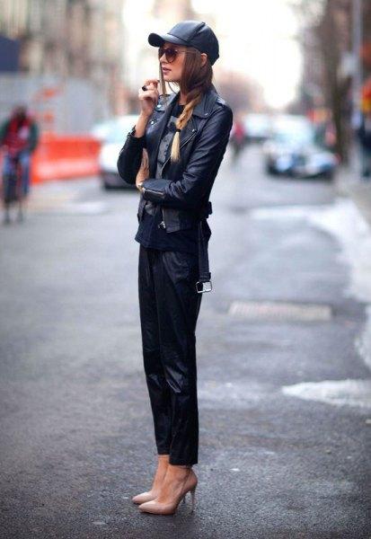 black moto jacket leather leggings