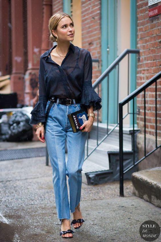 ruffle sleeveless navy blue