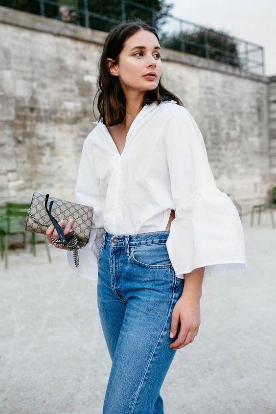 ruffle sleeveless white blue jeans