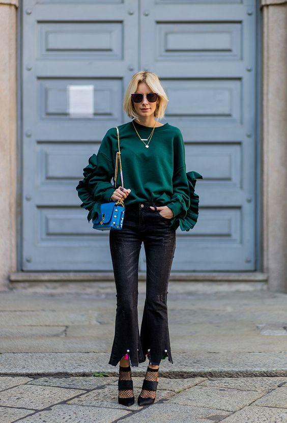 ruffle sleeve emerald green