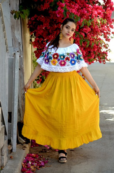 white boat neck mexican farmer blouse yellow high waist flared maxi skirt