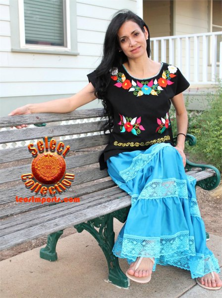 black mexican blouse with blue maxi skirt