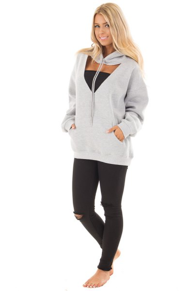 gray cut out hoodie black tub top