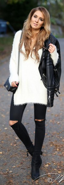 white long fuzzy sweater black ripped skinny jeans leather jacket