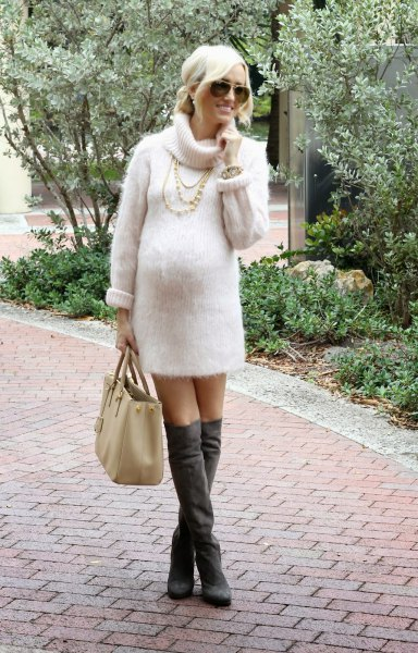 white turtleneck knit sweater dress gray over the knee boots