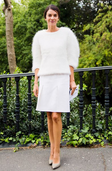 fuzzy sweater white knee length straight skirt