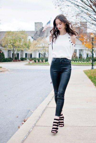 black leather leggings banded heeled sandals