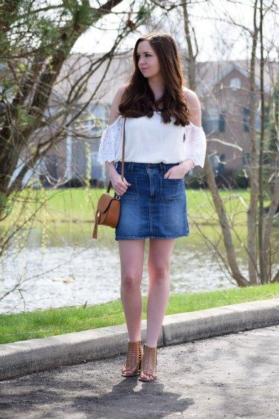 white cold shoulder top high waist blue denim mini skirt