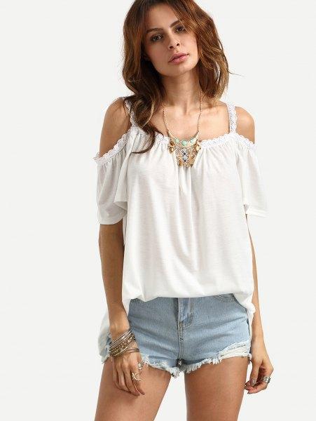 white cold shoulder top light blue mini denim shorts