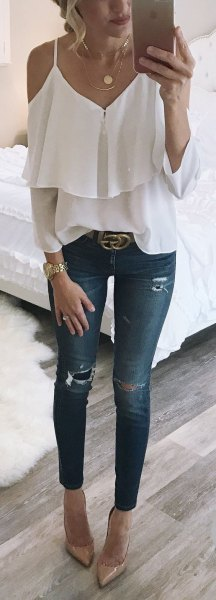 white cold shoulder ruffle front blouse ripped skinny jeans