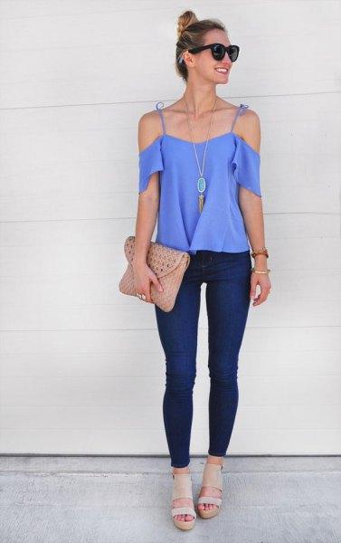 sky blue cold shoulder boho style necklace