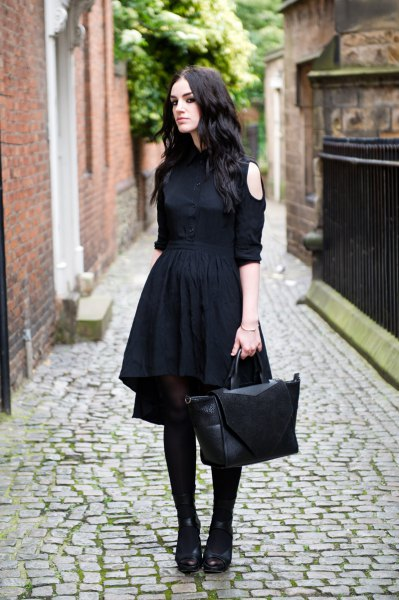 black cool shoulder button up shirt flared midi skirt