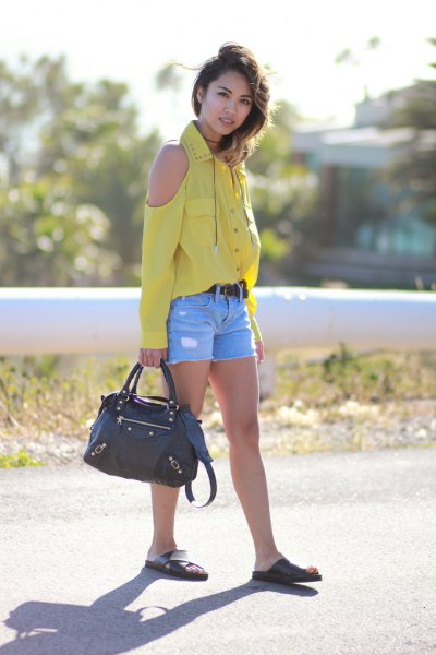 yellow cool shoulder button up shirt with blue denim shorts