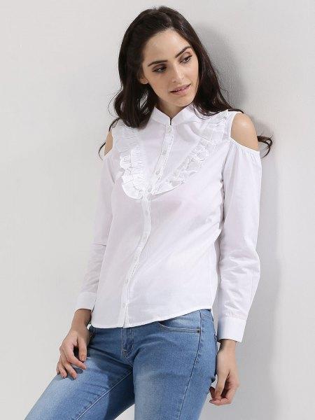 white mock neck ruffle cold shoulder shirt