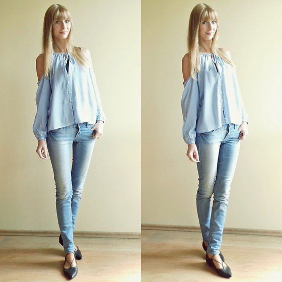light blue crew button on cold shoulder sweater