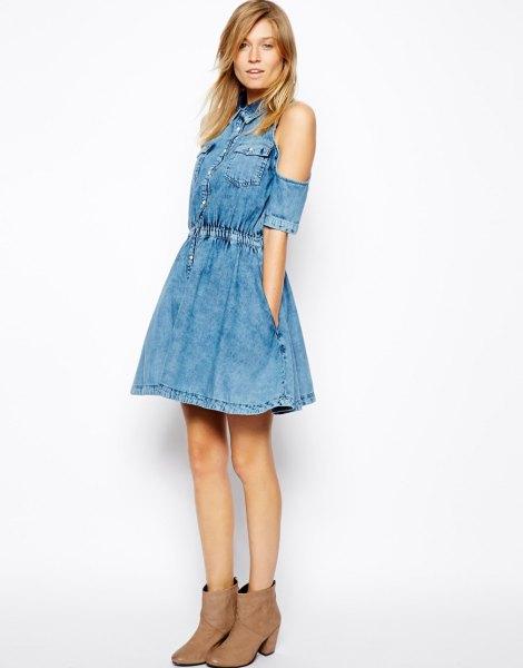 blue denim cold shoulder button front skater shirt dress