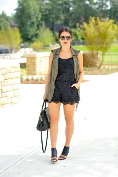 black lace romper gray long vest
