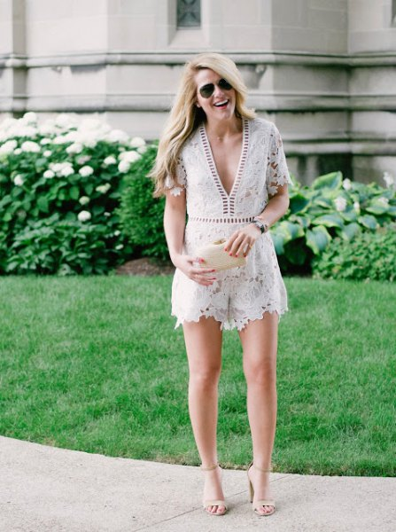 white deep v-neck lace romper light pink open toe heels