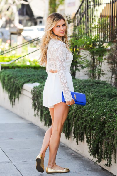 white cut out back lace romper