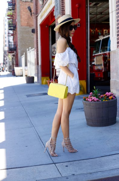 cold shoulder spaghetti strap rompers with yellow purse