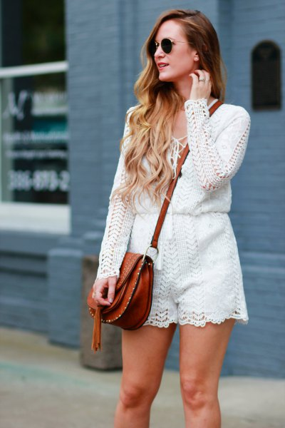 white crochet lace long-sleeved romper